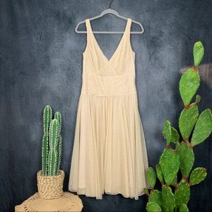 CLEARANCE Tadashi Shoji Gold Chiffon Tulle Dress